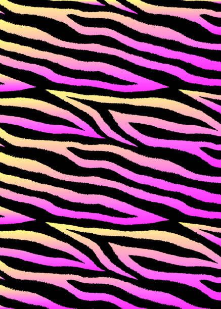 ilustraciones, imágenes clip art, dibujos animados e iconos de stock de fondo vectorial con rayas abstractas de colores. gradiente holográfico rosa y amarillo. - cat vaporwave