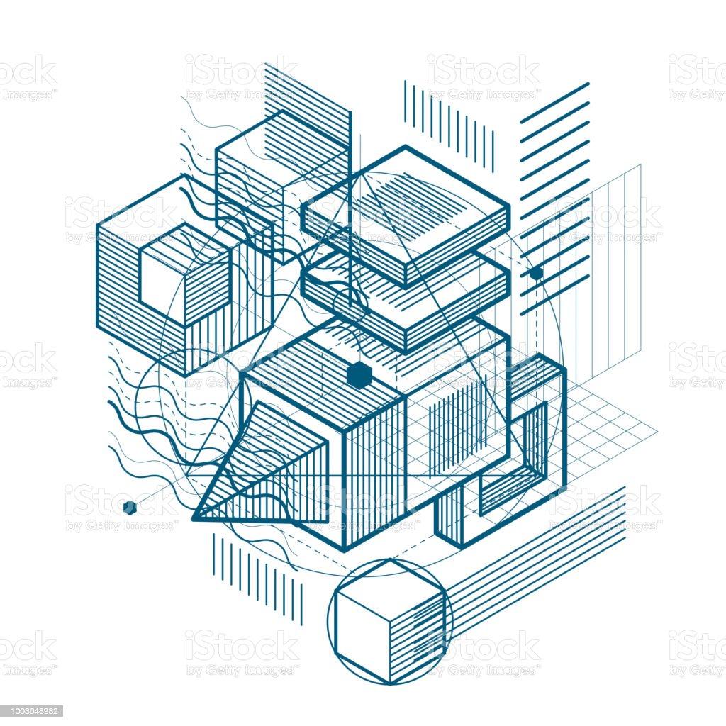 Fondo de vector con líneas isométricas abstractas y figuras. Plantilla hecha con cubos, hexágonos, cuadrados, rectángulos y diferentes elementos abstractos. - ilustración de arte vectorial