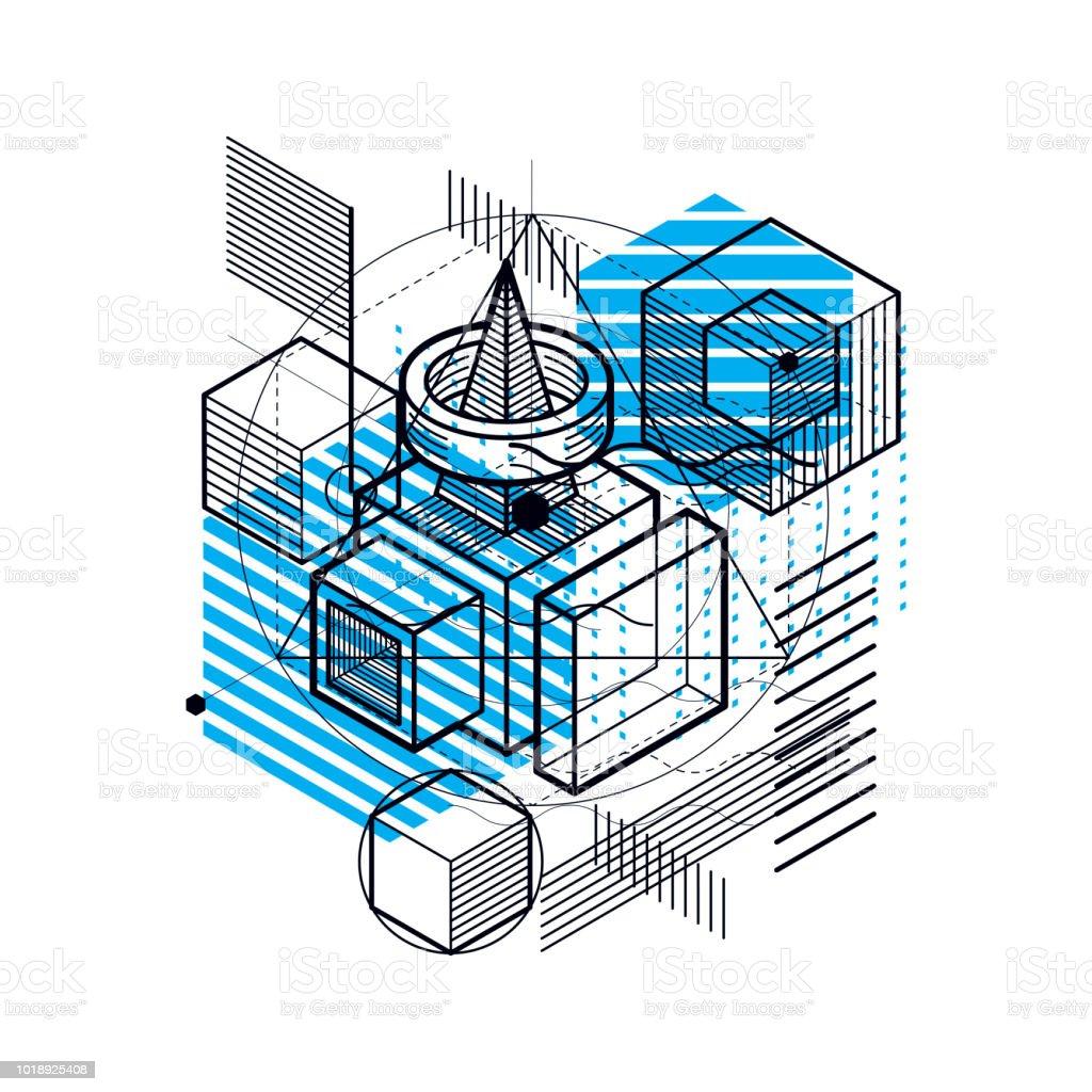 Vektorhintergrund Mit Abstrakten Isometrische Linien Und Figuren ...