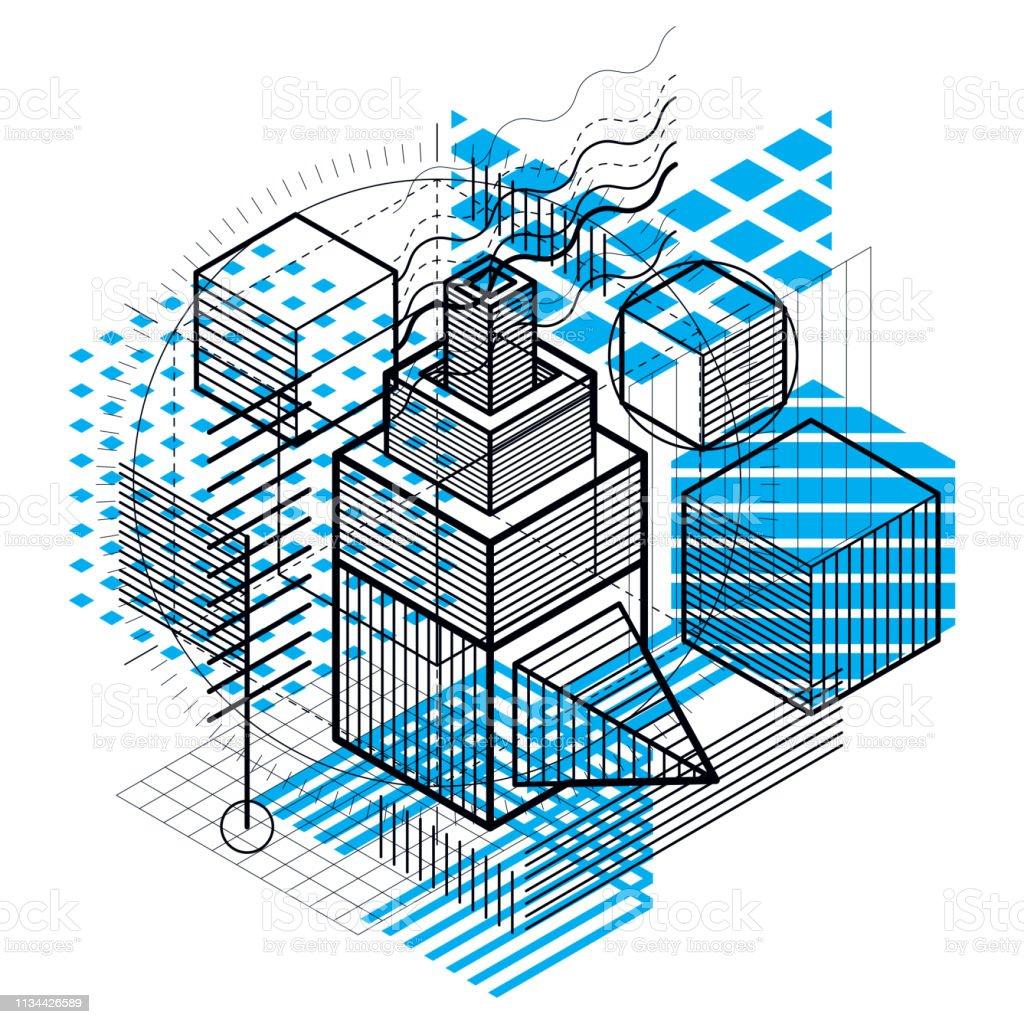 Fondo vectorial con líneas y figuras isométricas abstractas. Plantilla hecha con cubos, hexágonos, cuadrados, rectángulos y diferentes elementos abstractos. - ilustración de arte vectorial