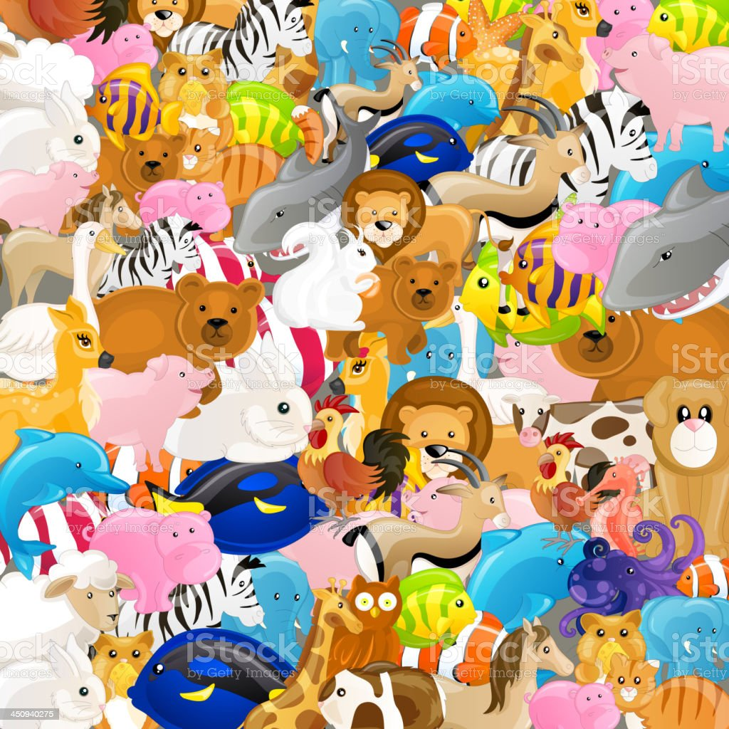 Vector Background with Animals royalty-free stock vector art