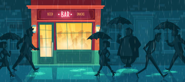 illustrazioni stock, clip art, cartoni animati e icone di tendenza di vector background with bar, night cafe in rain - city walking background