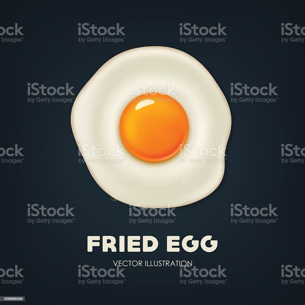 Vector background with beautiful realistic fried egg. vector art illustration