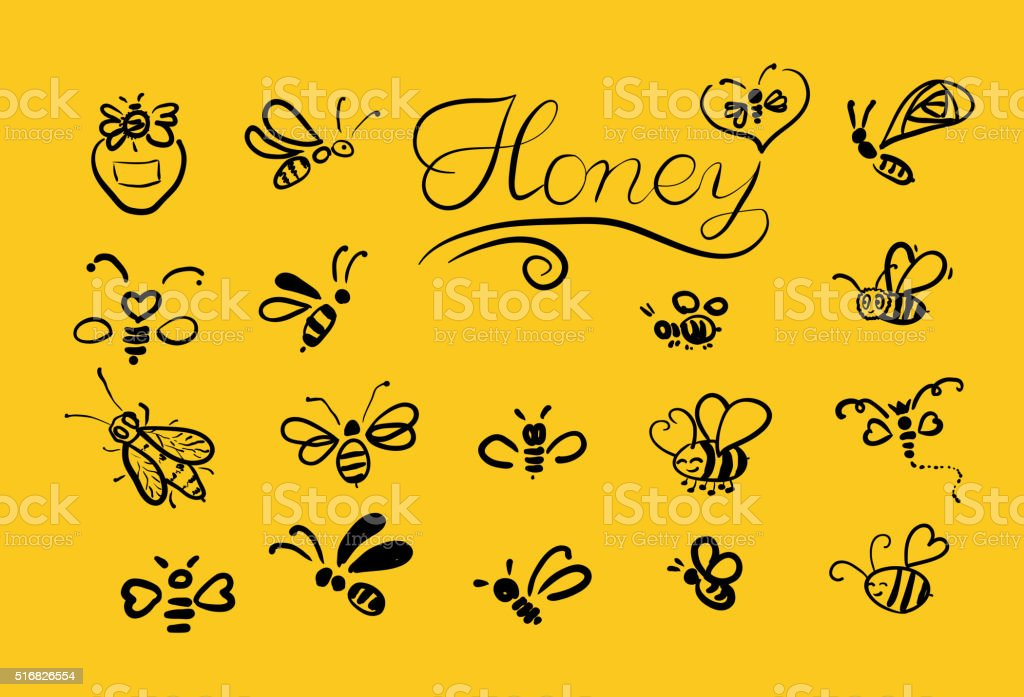 Vector background with bees for your design. vector art illustration