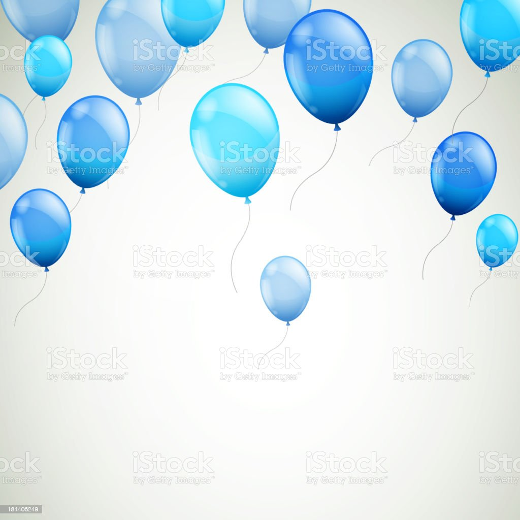 Vector Background with Blue Balloons vector art illustration