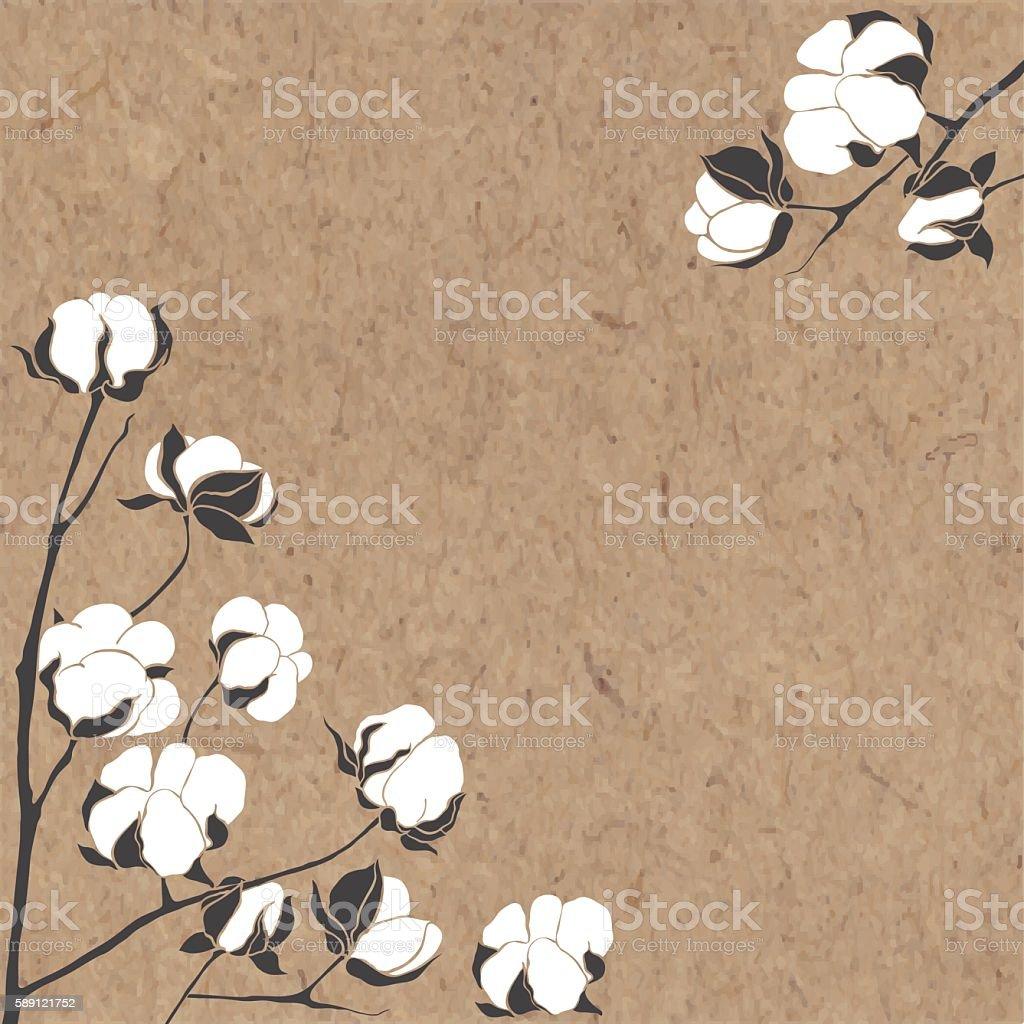 Vector background with branch of cotton on kraft paper. – Vektorgrafik