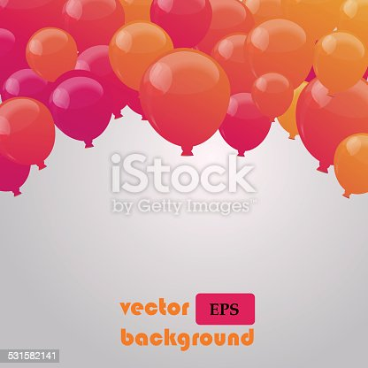 Vector background with bright colorful balloons