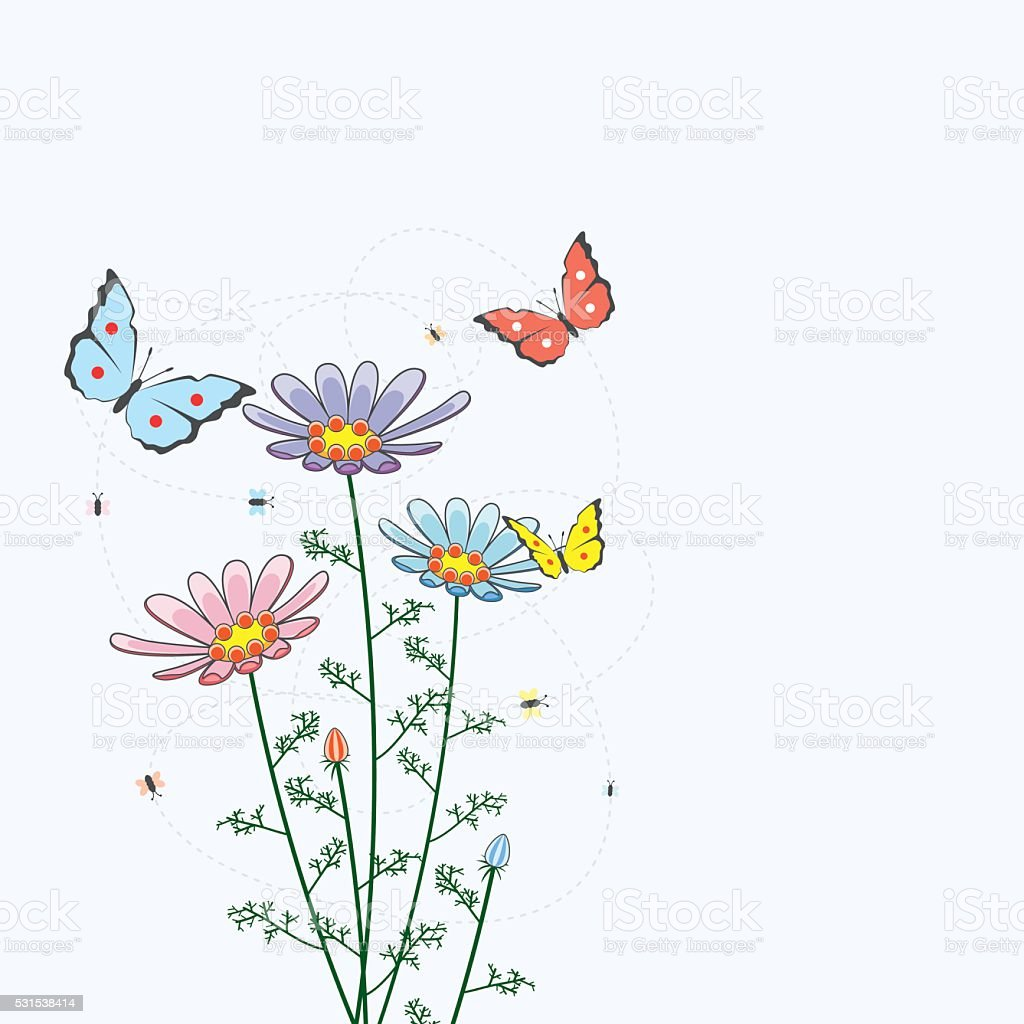 vector background with camomile flowers and butterflies vector art illustration