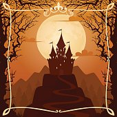 Vector background with castle on the hill and calligraphic frame.