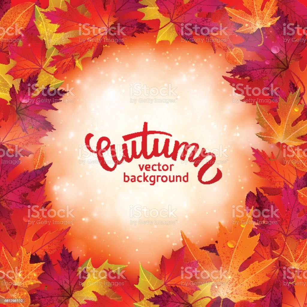 Vector background with colorful autumn leaves, card template, natural backdrop royalty-free vector background with colorful autumn leaves card template natural backdrop stock vector art & more images of abstract