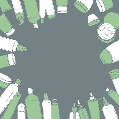 Vector background with cosmetic bottles.