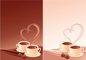 Vector background with cups of coffee, two variants of color
