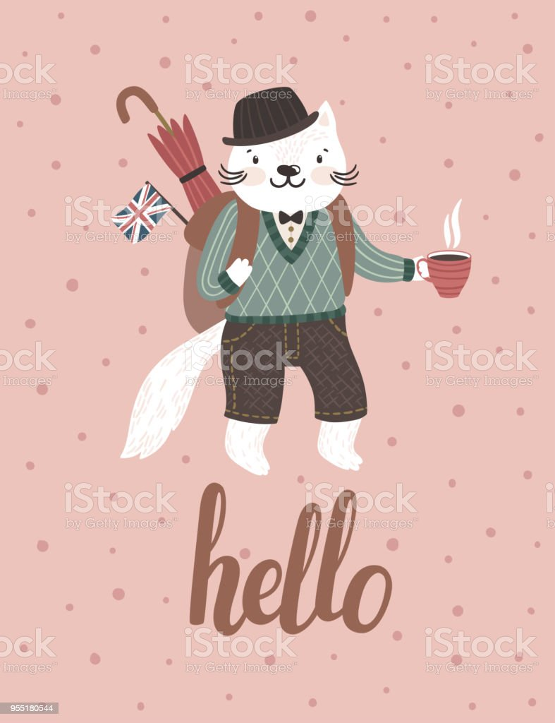 Vector Background With Cute Cat In English Clothes Vintage Poster