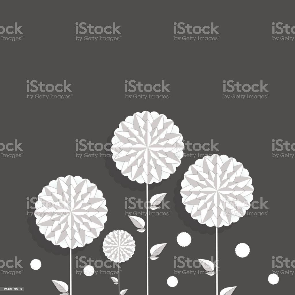 Vektör arka plan dekoratif beyaz yuvarlak çiçek ve damla kağıt tarzı ile vektör sanat illüstrasyonu