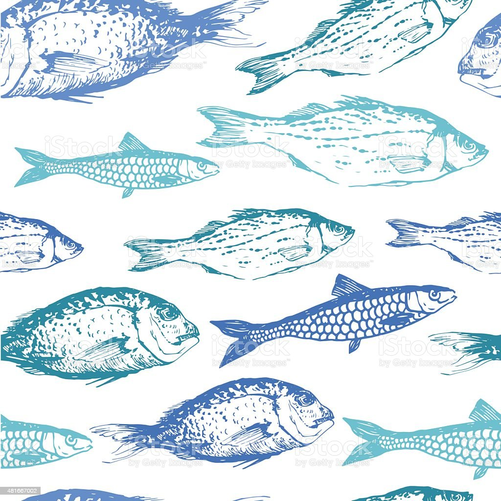 Vector background with drawing fish. vector art illustration