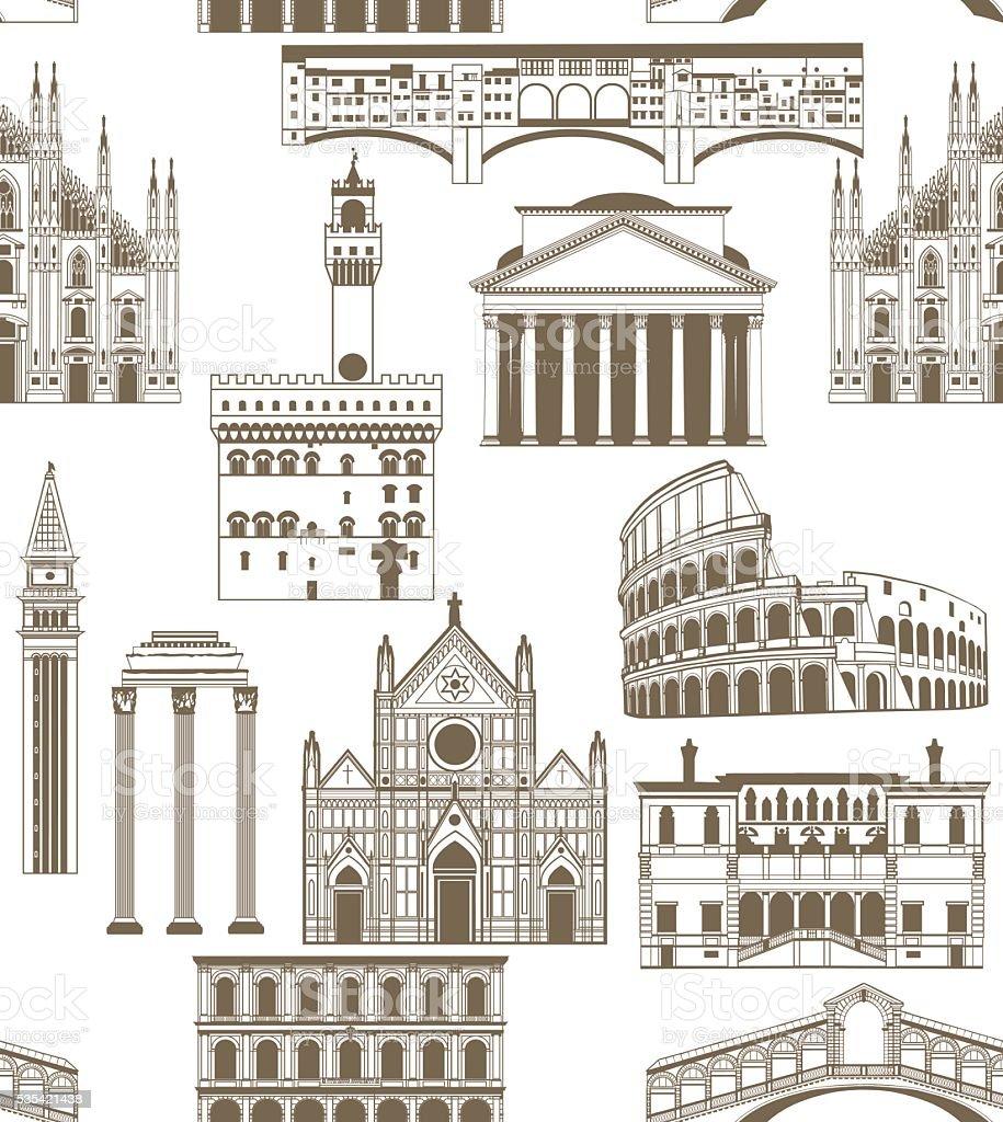 Sfondo vettoriale con famosi monumenti italiani - arte vettoriale royalty-free di Antico - Condizione