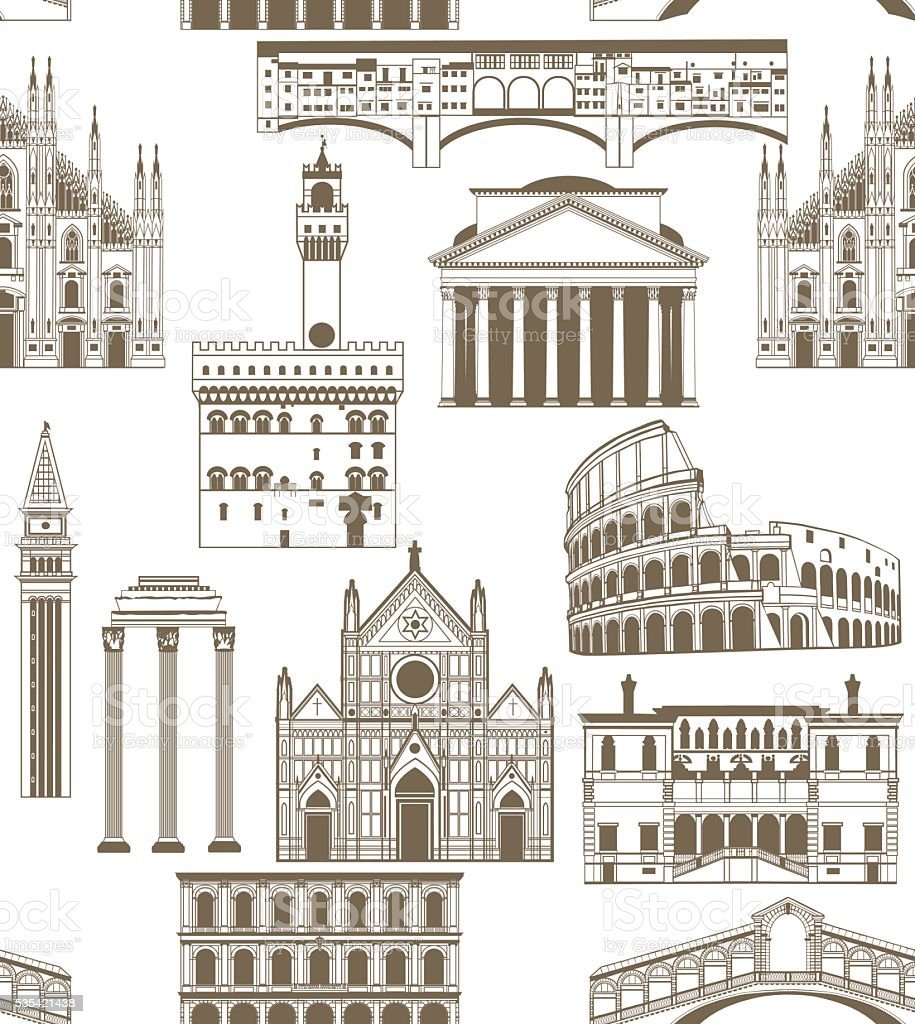 vector background with famous Italian landmarks vector art illustration