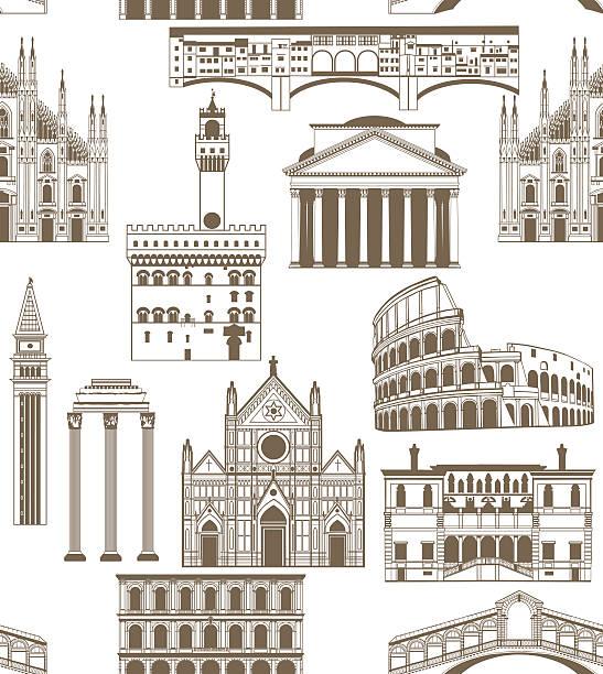 illustrazioni stock, clip art, cartoni animati e icone di tendenza di sfondo vettoriale con famosi monumenti italiani - milan fiorentina