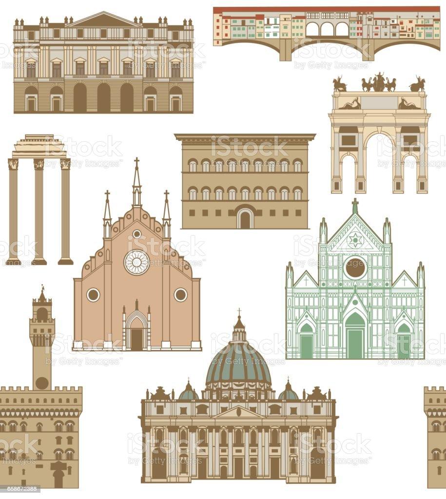 vector background with famous Italian landmarks vector art illustration