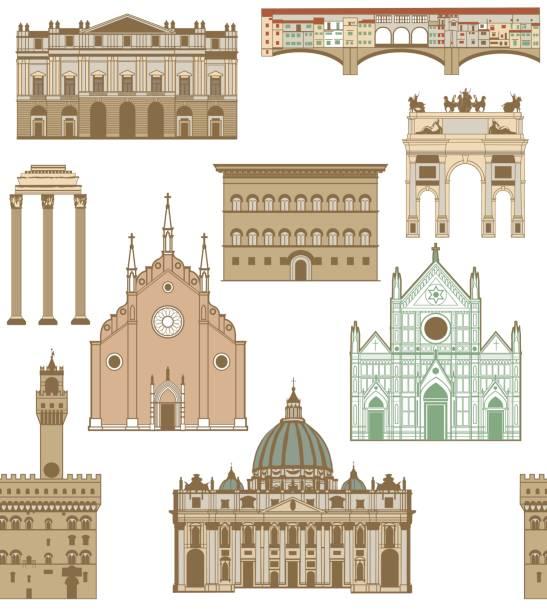illustrazioni stock, clip art, cartoni animati e icone di tendenza di vector background with famous italian landmarks - firenze