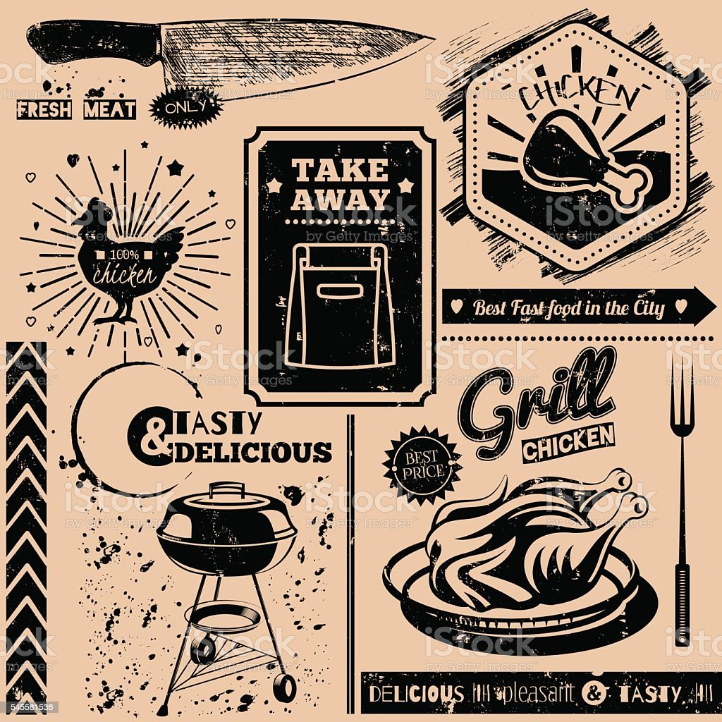 Vector background with fast food symbols vector art illustration