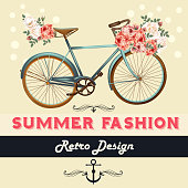 Vector background with flowers and bike Tshirt print with roses
