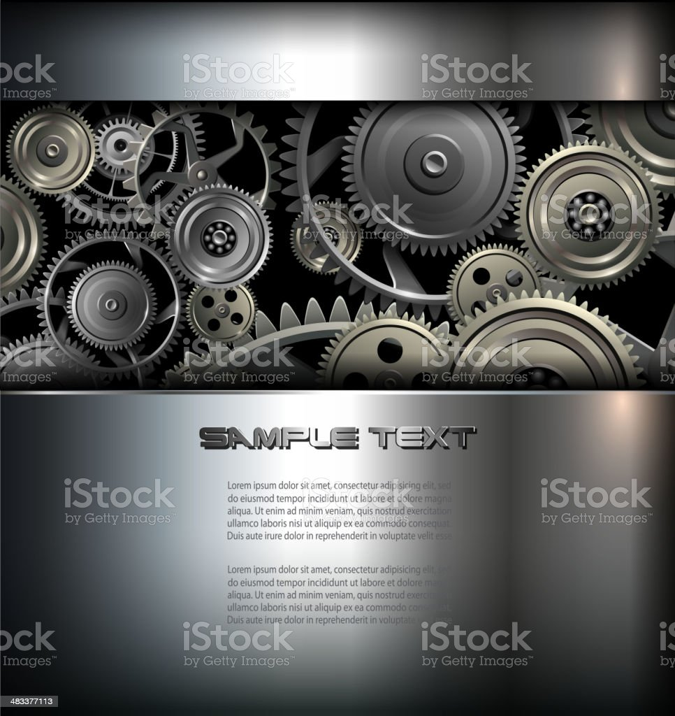 Vector Background With Gears vector art illustration
