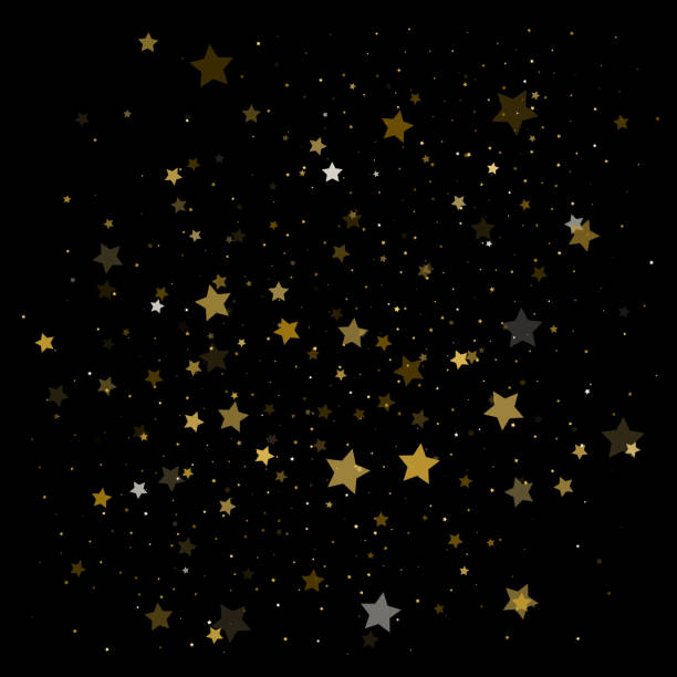 Vector background with gold stars vector art illustration