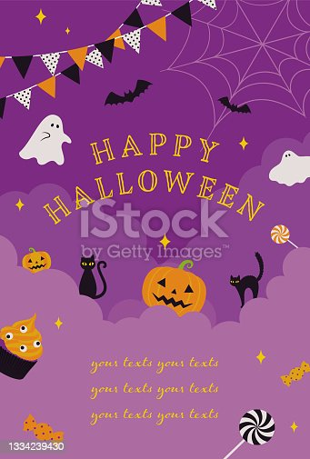 istock vector background with halloween illustrations for banners, cards, flyers, social media wallpapers, etc. 1334239430