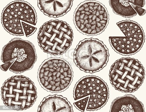 Vintage seamless pattern with traditional cake, tart and pie sketch. Sweet bakery. Top view.
