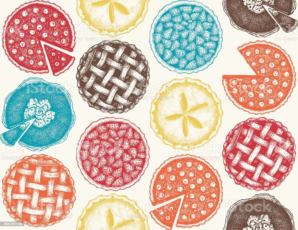 Vector background with  hand drawn fruit and berry baking illustration. vector art illustration