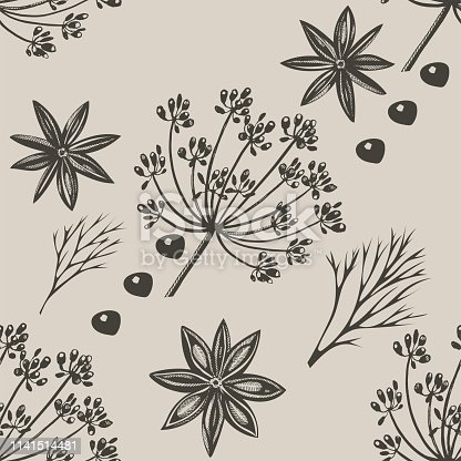 Vector background with hand drawn herbs and spices. Hand drawn ink illustration. Organic and fresh spices illustration