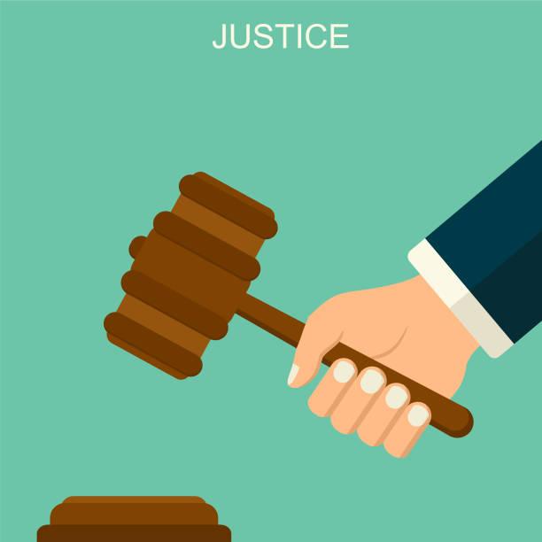 Vektor-Hintergrund mit Hand Richter gab. Richter-Arm mit Hummer. Flache stilmuster Gerechtigkeit. Law & Order-Konzept. – Vektorgrafik