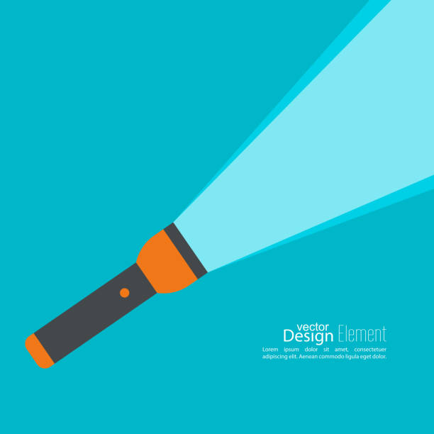 Vector background with hand Vector background with flashlight. Vector flat flashlight illustration. The concept of search optimization, seo. Pocket flashlight icon.  flashlight stock illustrations