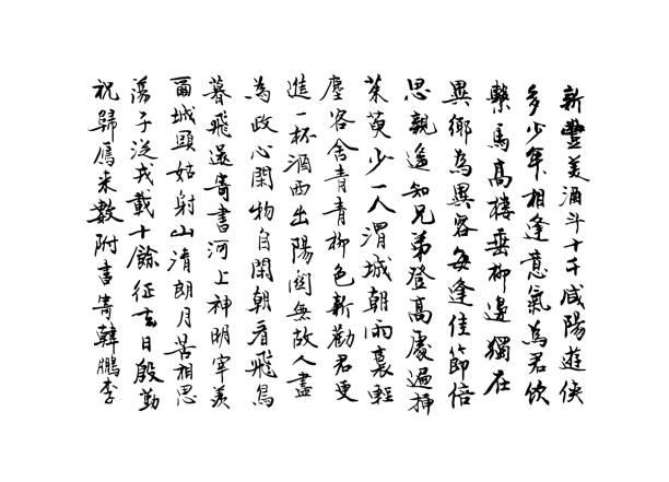 illustrazioni stock, clip art, cartoni animati e icone di tendenza di vector background with handwritten chinese characters. asian calligraphy illustration - giapponese