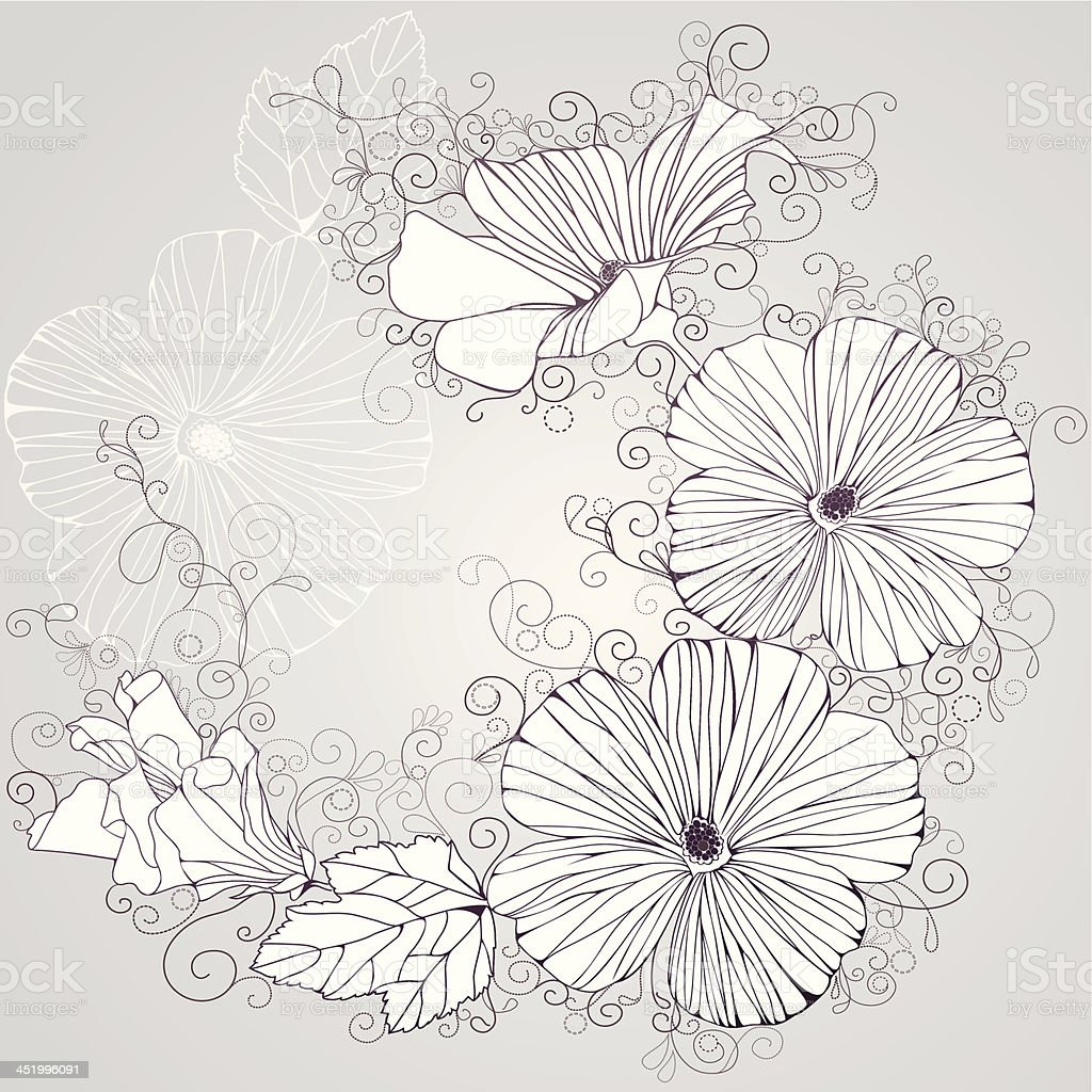 Vector background with  hibiscus flowers royalty-free stock vector art