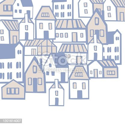 Vector background with hand drawn houses. Sketch  illustration.