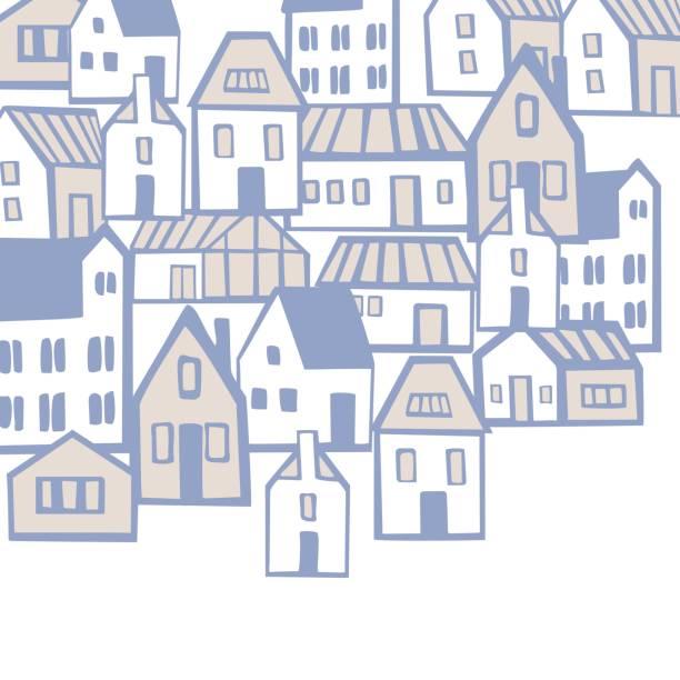 ilustraciones, imágenes clip art, dibujos animados e iconos de stock de fondo vectorial con casas. - conceptos y temas
