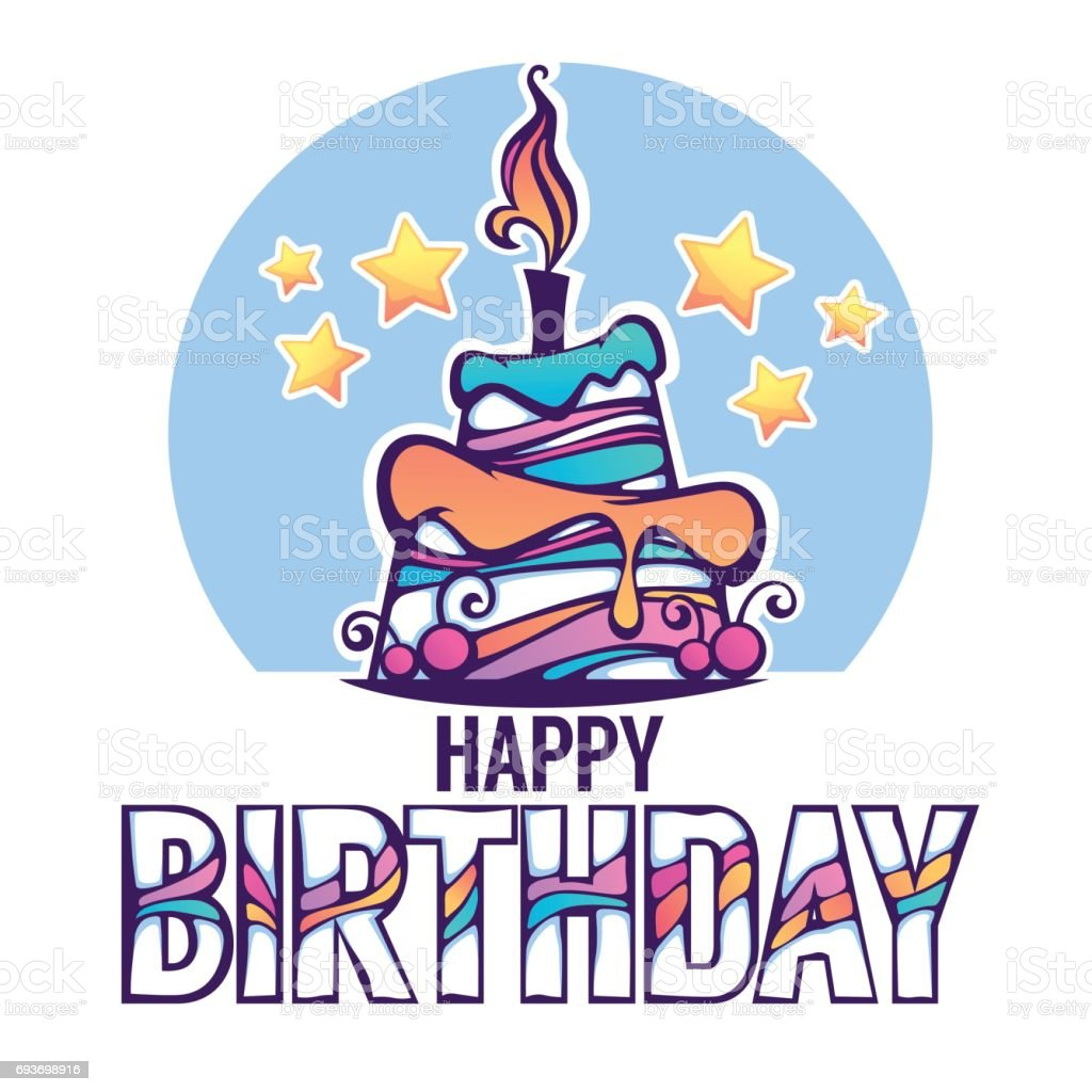 vector background with image of birthday cake candle and rainbow