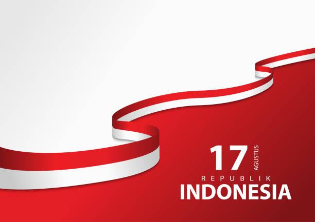 stockillustraties, clipart, cartoons en iconen met vectorachtergrond met indonesisch vlagconcept - indonesische vlag