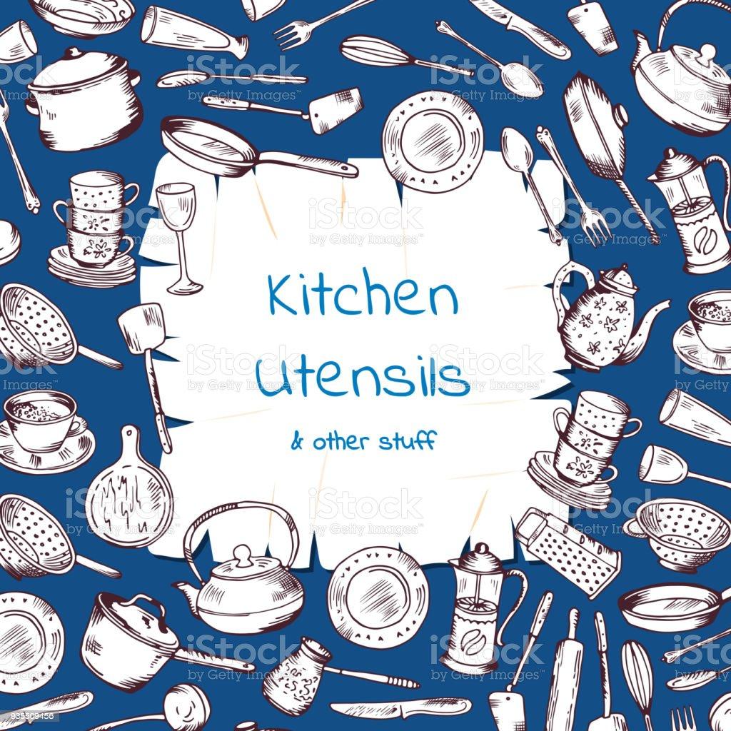 De fundo Vector com utensílios de cozinha, reunidos em torno do papel dos desenhos animados com lugar para texto - ilustração de arte em vetor