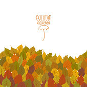 Vector background with multicolored drawings of autumn leaves.