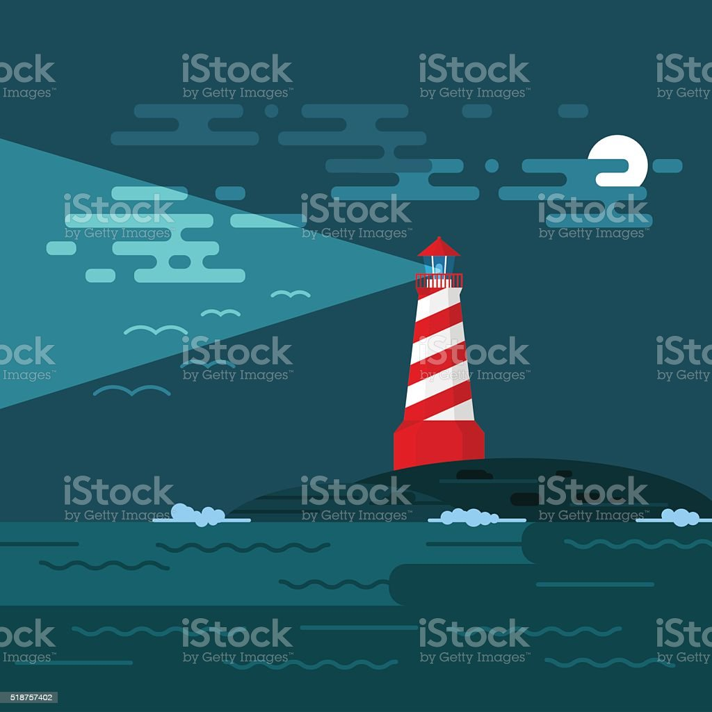 Vector background with lighthouse, sea, waves an night. vector art illustration