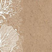 Monochrome marine background, vector illustration on kraft paper. Can be greeting card, invitation, design element.