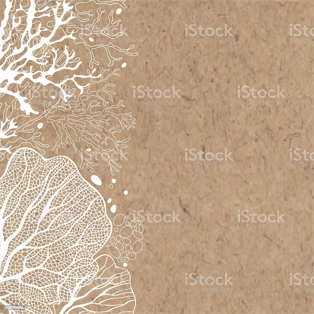 Vector background with marine plants on kraft paper. vector art illustration
