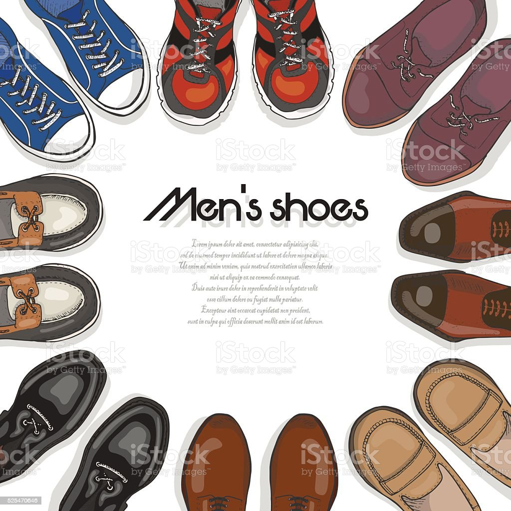 Vector background with men's shoes vector art illustration