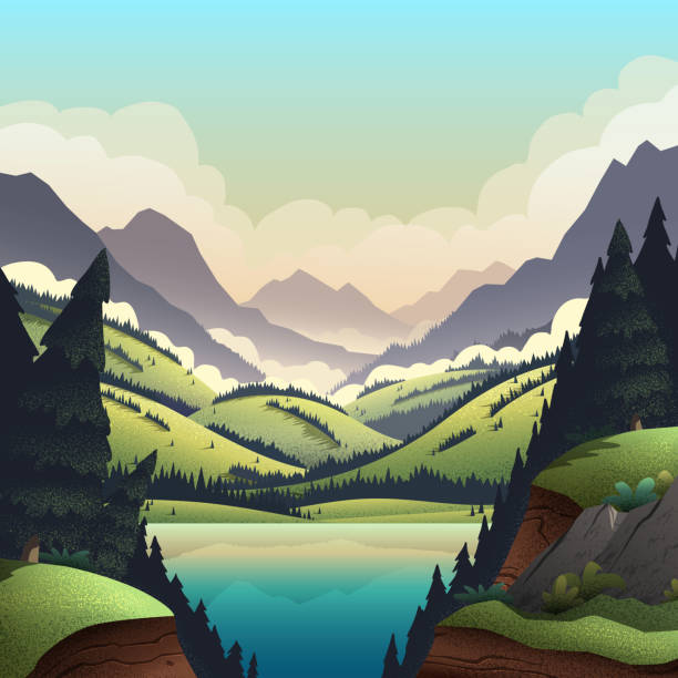 Vector background with mountains landscape. Vector background with vibrant cartoon illustrations of mountain ridges, forest, and lake. valley stock illustrations