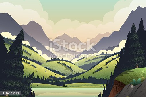 Vector background with vibrant cartoon illustrations of mountain ridges, forest, and lake.