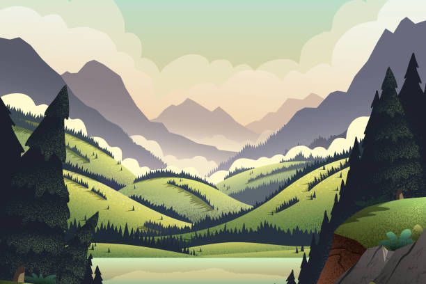 Vector background with mountains landscape. Vector background with vibrant cartoon illustrations of mountain ridges, forest, and lake. wilderness stock illustrations