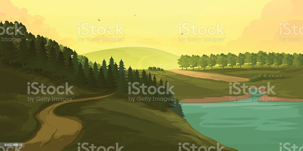 Vector Background with Mountains vector art illustration
